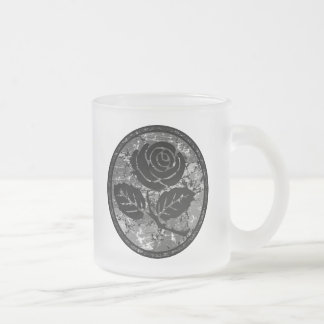 Distressed Rose Silhouette Cameo - Black & Grey Frosted Glass Coffee Mug