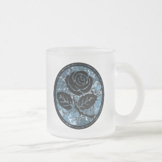 Distressed Rose Silhouette Cameo - Blue Frosted Glass Coffee Mug