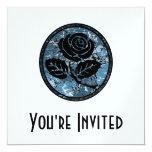 "Distressed Rose Silhouette Cameo - Blue 5.25"" Square Invitation Card"