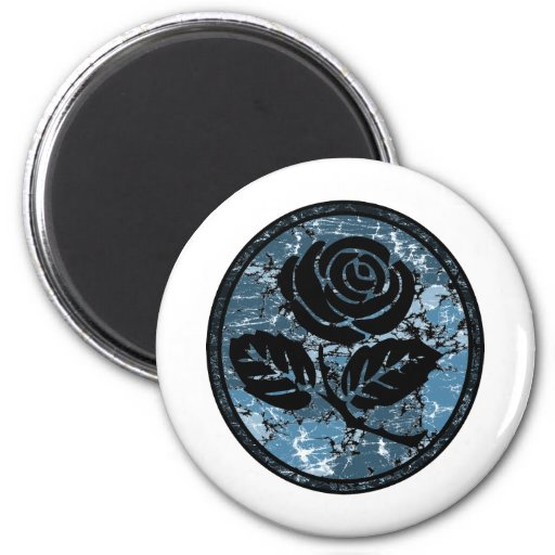 Distressed Rose Silhouette Cameo - Blue Fridge Magnets
