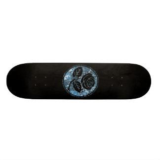 Distressed Rose Silhouette Cameo - Blue Skateboard Deck