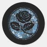 Distressed Rose Silhouette Cameo - Blue Sticker