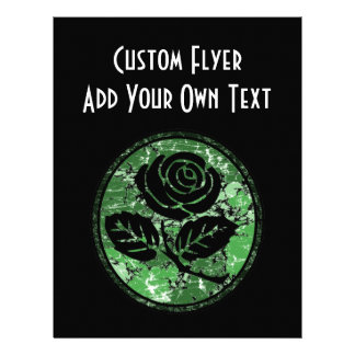 """Distressed Rose Silhouette Cameo - Green 8.5"""" X 11"""" Flyer"""