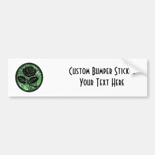 Distressed Rose Silhouette Cameo - Green Bumper Sticker