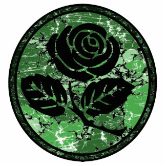 Distressed Rose Silhouette Cameo - Green Cutout