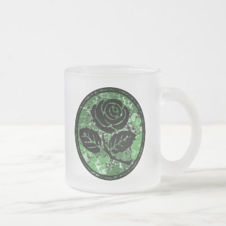 Distressed Rose Silhouette Cameo - Green Frosted Glass Coffee Mug