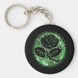 Distressed Rose Silhouette Cameo - Green Keychain