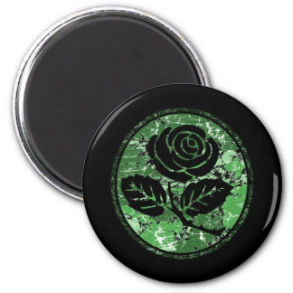 Distressed Rose Silhouette Cameo - Green Magnet