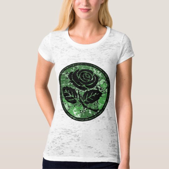 Distressed Rose Silhouette Cameo - Green T-Shirt