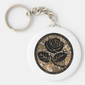 Distressed Rose Silhouette Cameo - Orange Keychain