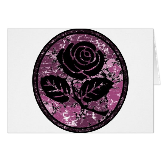 Distressed Rose Silhouette Cameo - Pink Card