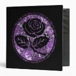 Distressed Rose Silhouette Cameo - Purple 3 Ring Binders