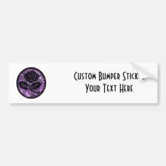 Distressed Rose Silhouette Cameo - Purple Bumper Sticker