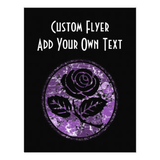 Distressed Rose Silhouette Cameo - Purple Flyer Design