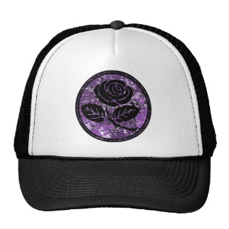 Distressed Rose Silhouette Cameo - Purple Hat
