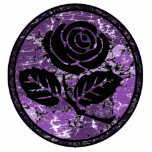Distressed Rose Silhouette Cameo - Purple Photo Sculpture