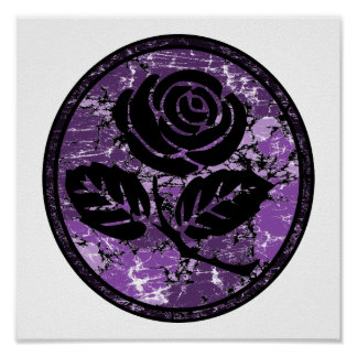 Distressed Rose Silhouette Cameo - Purple Poster