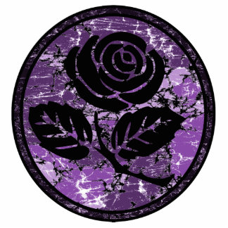 Distressed Rose Silhouette Cameo - Purple Standing Photo Sculpture
