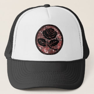 Distressed Rose Silhouette Cameo - Red Trucker Hat