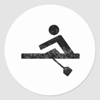 Distressed Rower Silhouette Sticker