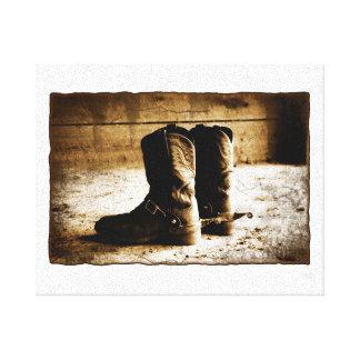 Distressed Rustic Cowboy Boots Canvas