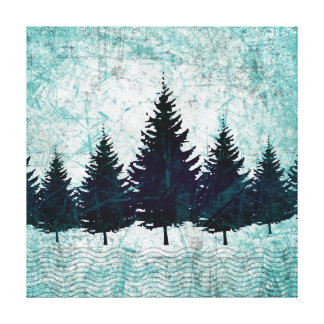 Distressed Rustic Evergreen Pine Trees Forest Canvas Print