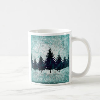 Distressed Rustic Evergreen Pine Trees Forest Coffee Mug