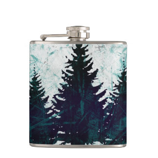 Distressed Rustic Evergreen Pine Trees Forest Flasks