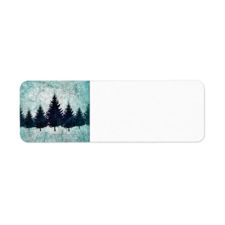 Distressed Rustic Evergreen Pine Trees Forest Label