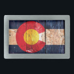 "Distressed rustic wooden Colorado state flag Belt Buckle<br><div class=""desc"">Distressed rustic wooden Colorado state flag</div>"