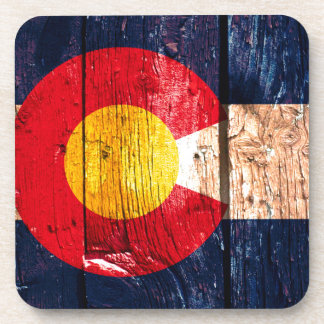 Distressed rustic wooden Colorado state flag Coaster