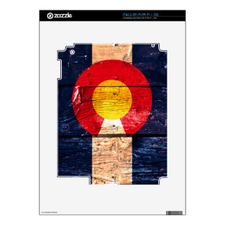Distressed rustic wooden Colorado state flag iPad 2 Decal