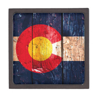 Distressed rustic wooden Colorado state flag Premium Keepsake Boxes