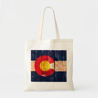 Distressed rustic wooden Colorado state flag Tote Bag