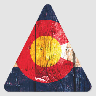 Distressed rustic wooden Colorado state flag Triangle Sticker
