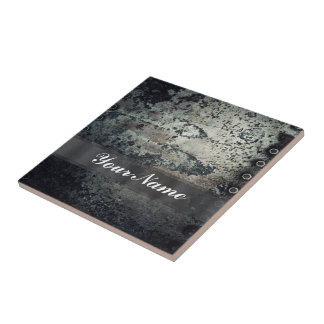 Distressed rusty metal tiles