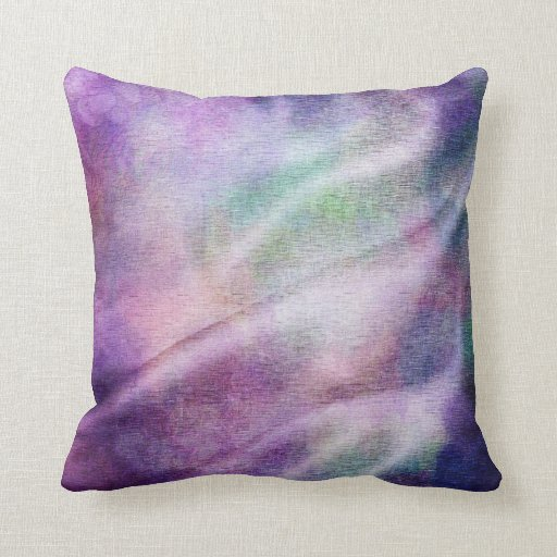 Distressed Satin Lavender Purple Green Fabric Throw Pillow