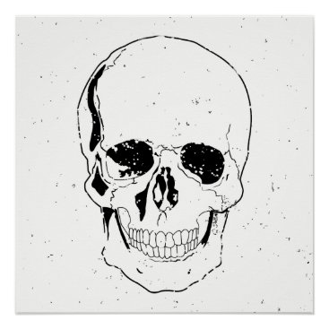 Halloween Themed Distressed Scary Halloween Black Skull Poster