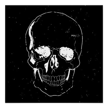 Halloween Themed Distressed Scary Halloween White Skull Poster