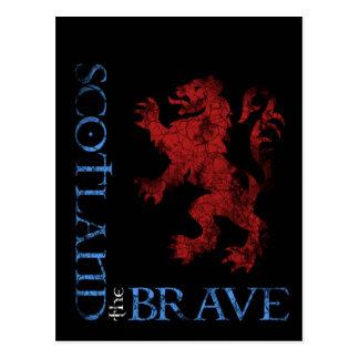 Distressed Scotland the Brave Lion Rampant Design Postcard