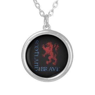 Distressed Scotland the Brave Lion Rampant Design Round Pendant Necklace
