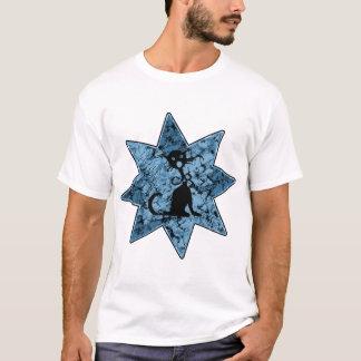 Distressed Screaming Black Cat - Blue T-Shirt