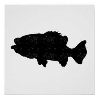 Distressed Sea Bass Silhouette Poster