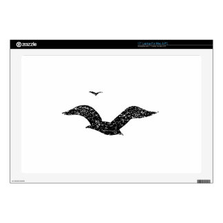 Distressed Seagulls Silhouette Decal For Laptop