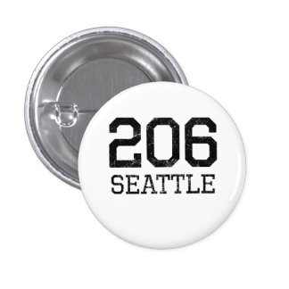 Distressed Seattle 206 Pinback Button