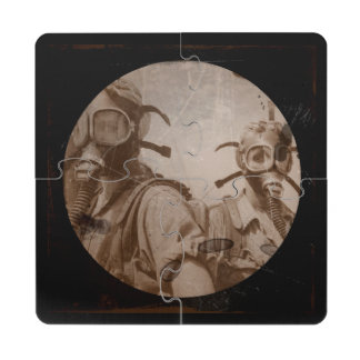 Distressed Sepia Gas Mask Girls Puzzle Coaster