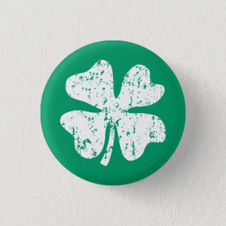 Distressed shamrock St Patricks Day Pin Buttons
