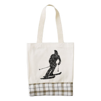 Distressed Skier Silhouette Zazzle HEART Tote Bag