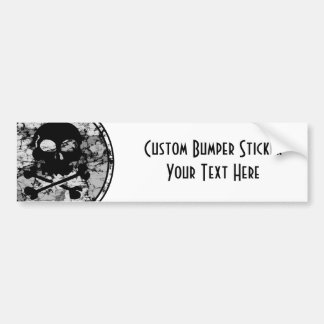 Distressed Skull & Crossbones Silhouette B&W Bumper Sticker