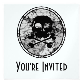 Distressed Skull & Crossbones Silhouette B&W Card